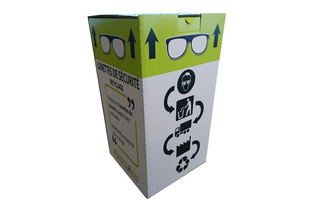 Boite carton de collecte pour lunettes