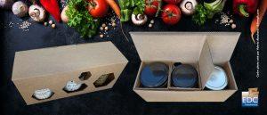 Boîte découpée pour trio de pots en verre