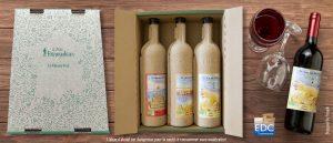 Boite découpée à rabats avec calage intégré pour bouteilles